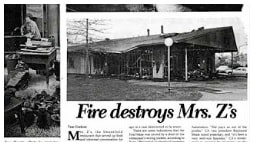"""new paper clipping about """"Fire destroys Mrs. Z's"""""""
